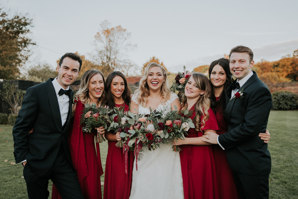 Bride Bridal Cap Sleeve Lace Overlay Dress Gown Veil uxedo Burgundy Bridesmaids Bow Tie Groom Groomsmen Gaynes Park Wedding Kate Gray Photography