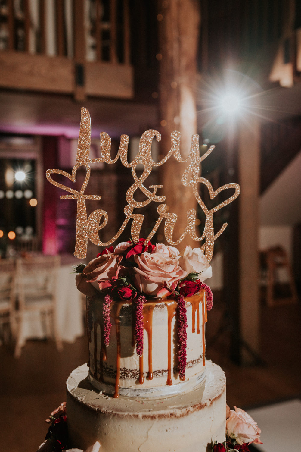 Semi Naked Buttercream Drip Cake Laser Cut Sparkly Topper Gaynes Park Wedding Kate Gray Photography