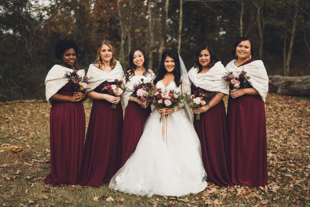 Long Maxi Bridesmaid Bridesmaids Dress Dresses Red Burgundy Kindred Barn Wedding The Kindred Collective