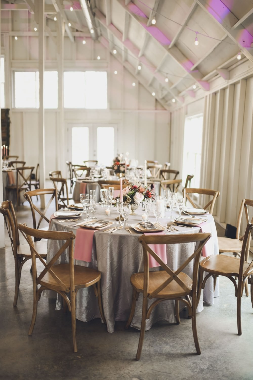 Table Decor Tablescape Flowers Pink Grey Flowers Centrepiece Candles Festoon Lights Kindred Barn Wedding The Kindred Collective