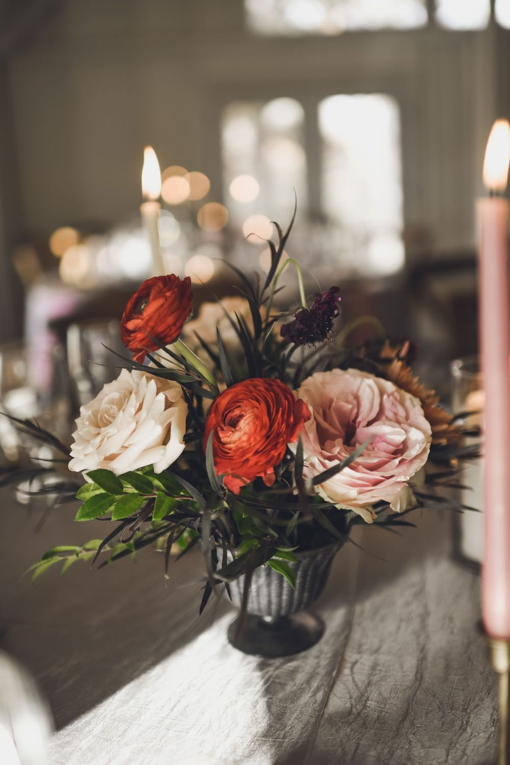 Table Flowers Centrepiece Decor Pink Red Kindred Barn Wedding The Kindred Collective