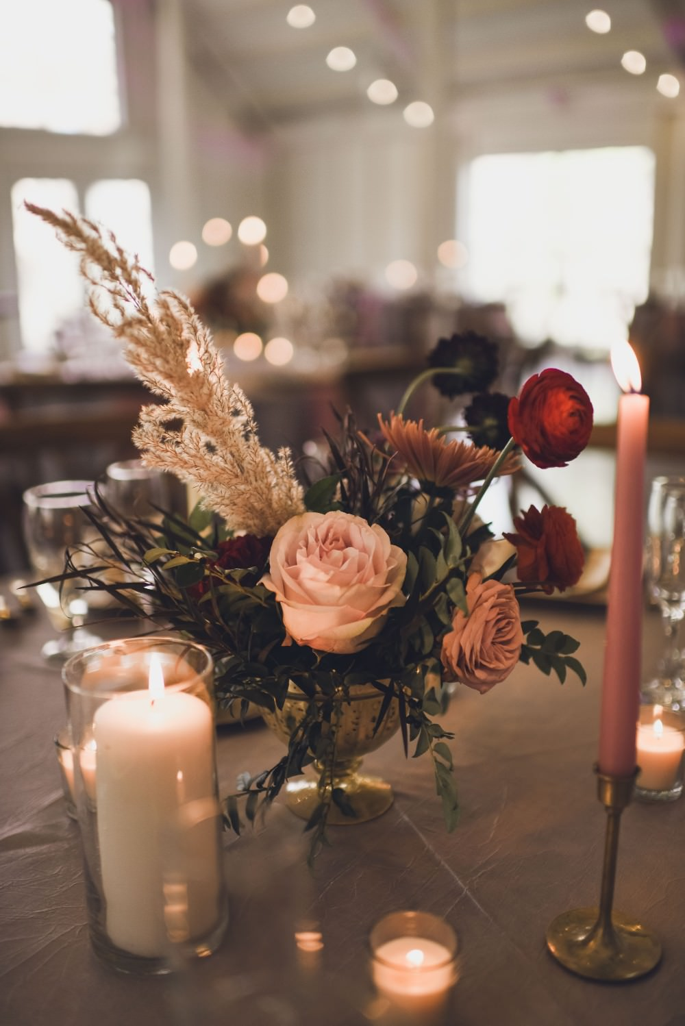 Table Flowers Centrepiece Decor Pink Red Pampas Grass Kindred Barn Wedding The Kindred Collective