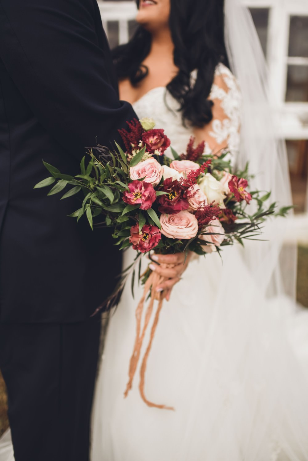 Bouquet Flowers Pink Red Rose Greenery Foliage Bride Bridal Kindred Barn Wedding The Kindred Collective
