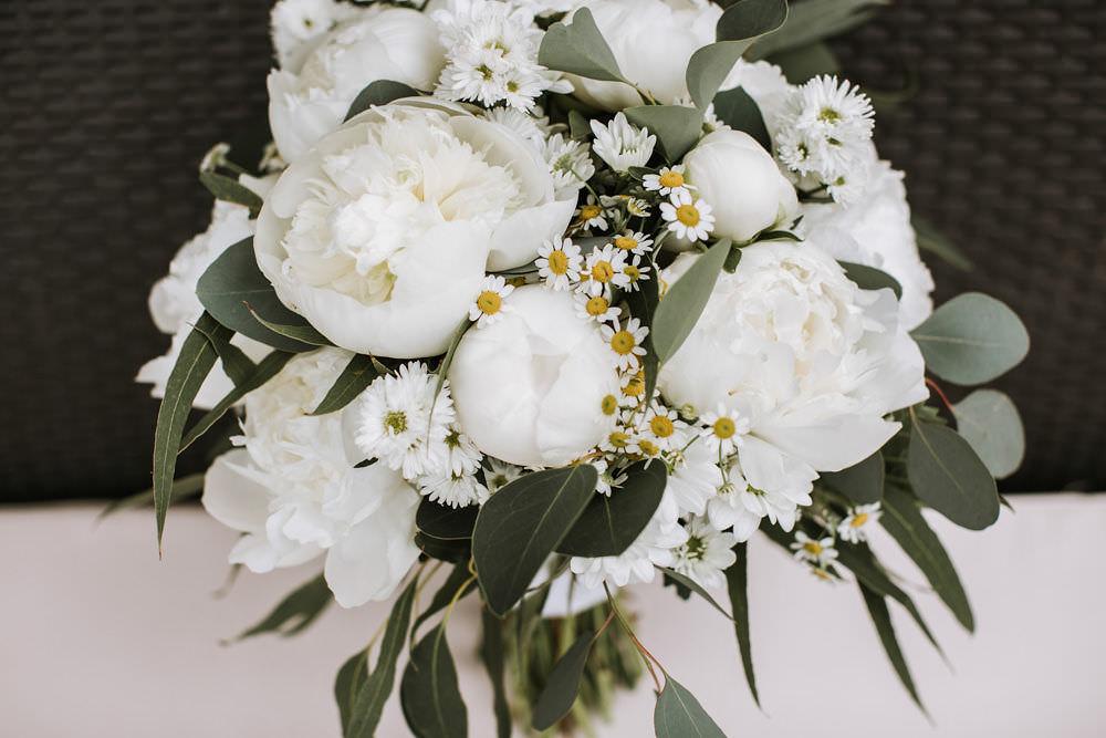 White Peony Flower Daisy Bouquet Bride Bridal Portugal Destination Wedding Ana Parker Photography