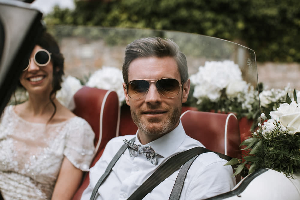 Bride Groom Sunglasses Vintage Car Transport Portugal Destination Wedding Ana Parker Photography