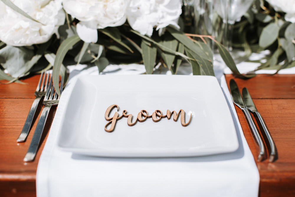 Wooden Laser Cut Place Name Setting Portugal Destination Wedding Ana Parker Photography