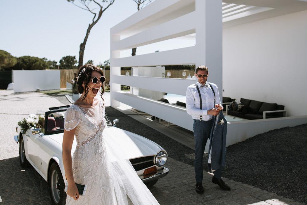 Bride Bridal Jenny Packham Beaded Short Sleeve Dress Gown Blue Suit Groom Braces Bow Tie Hairpiece Veil Portugal Destination Wedding Ana Parker Photography