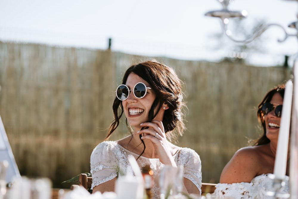 Bride Bridal Jenny Packham Beaded Short Sleeve Dress Gown Sunglasses Portugal Destination Wedding Ana Parker Photography