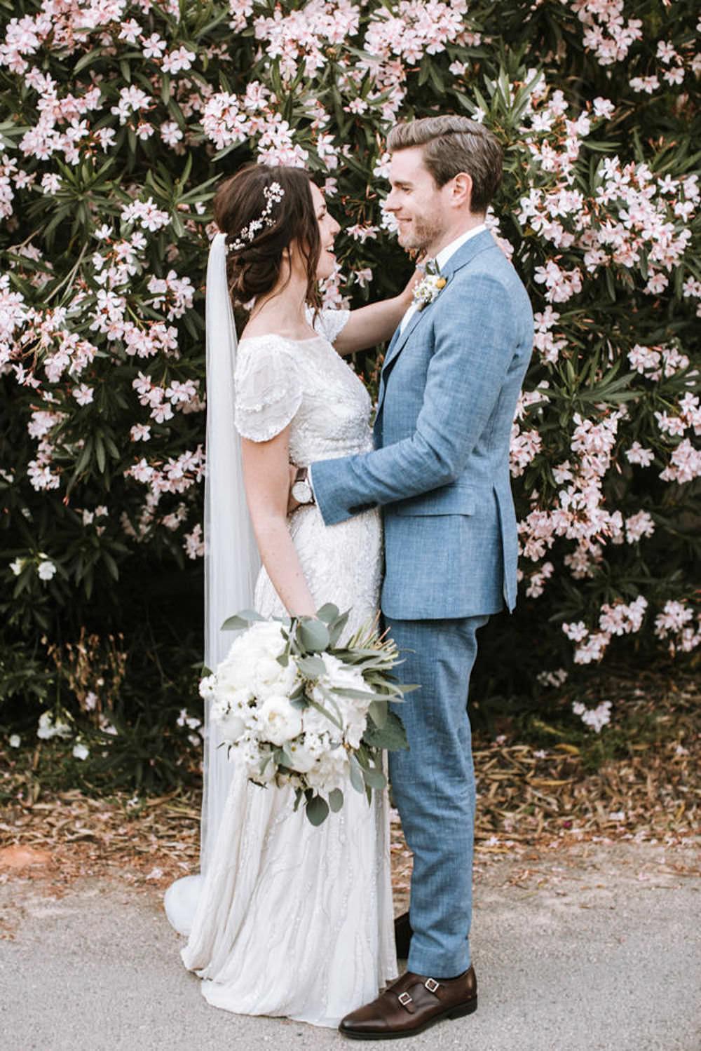 Bride Bridal Jenny Packham Beaded Short Sleeve Dress Gown Blue Suit Groom Hairpiece Vine Veil Portugal Destination Wedding Ana Parker Photography
