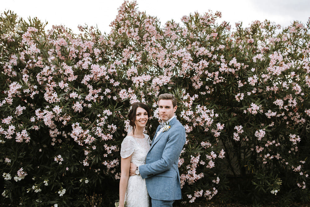 Bride Bridal Jenny Packham Beaded Short Sleeve Dress Gown Blue Suit Groom Bow Tie Hairpiece Veil Portugal Destination Wedding Ana Parker Photography