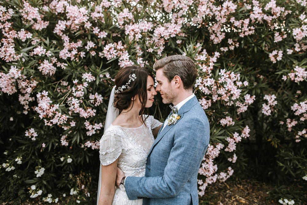 Bride Bridal Jenny Packham Beaded Short Sleeve Dress Gown Blue Suit Groom Hairpiece Veil Bow Tie Portugal Destination Wedding Ana Parker Photography