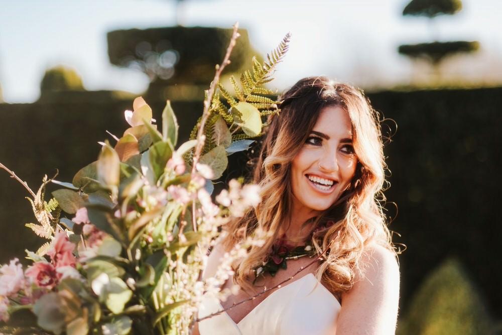 Bride Bridal Bouquet Flowers Large Wild Foliage Greenery Roses Romantic Wedding Ideas Neon Lighting Kate McCarthy Photography
