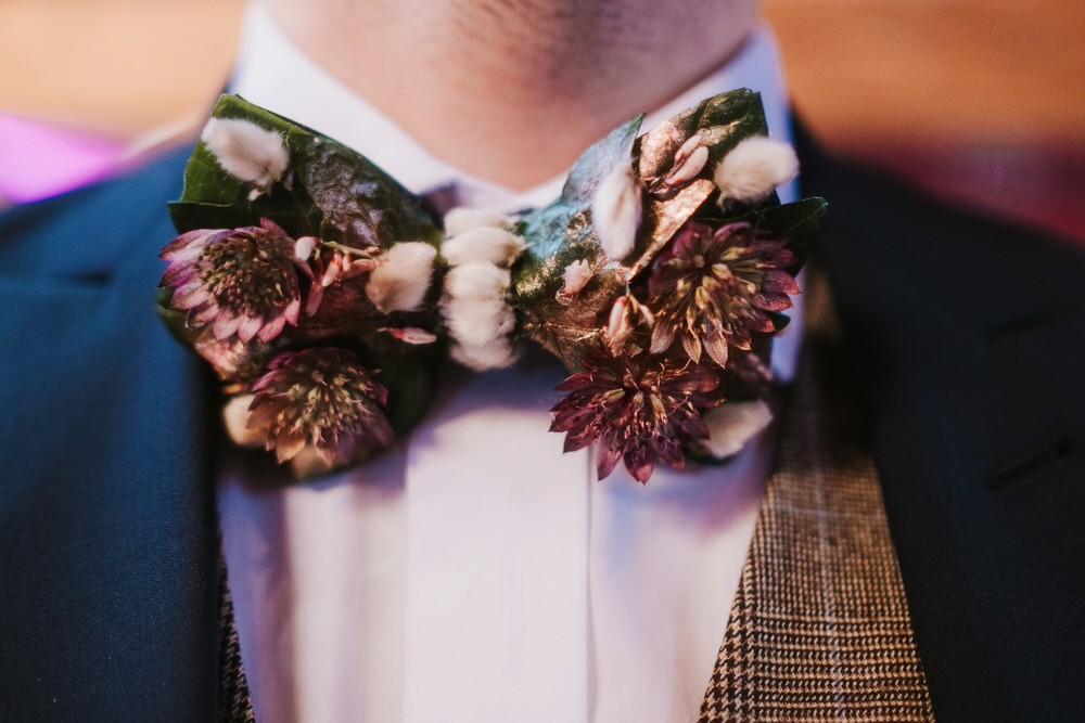 Groom Bow Tie Romantic Wedding Ideas Neon Lighting Kate McCarthy Photography