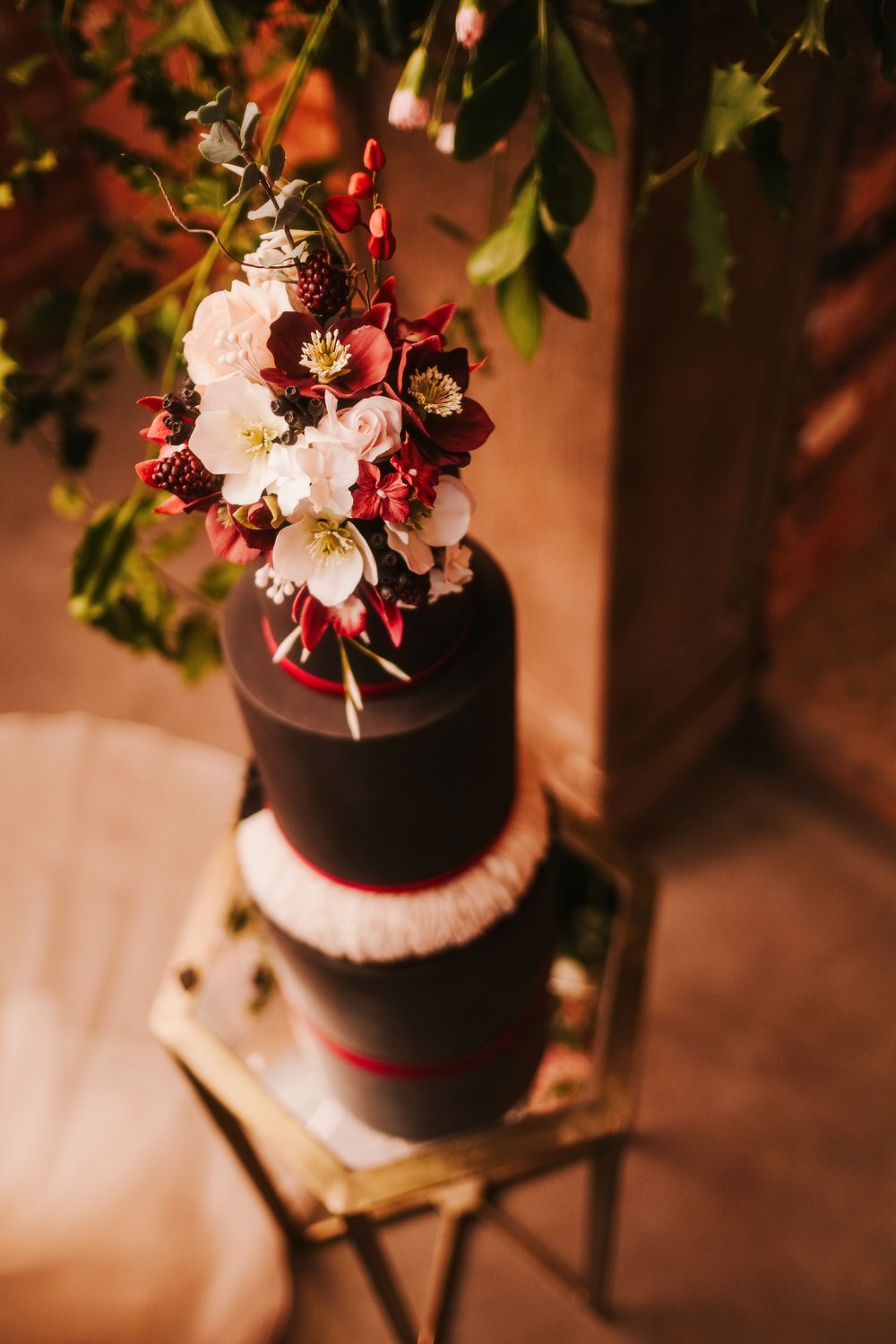 Cake Black Red Blush Floral Tall Flowers Romantic Wedding Ideas Neon Lighting Kate McCarthy Photography