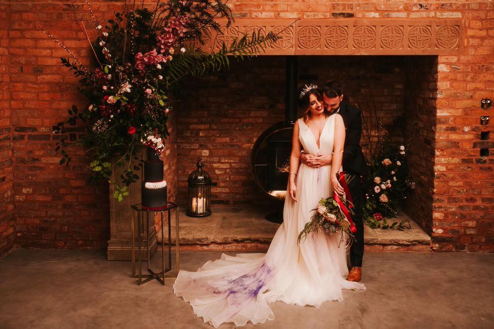 Bride Bridal Dress Gown Train Tulle Romantic Wedding Ideas Neon Lighting Kate McCarthy Photography
