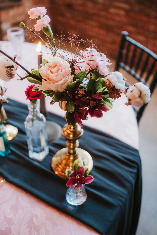 Table Flowers Candlestick Bottle Romantic Wedding Ideas Neon Lighting Kate McCarthy Photography