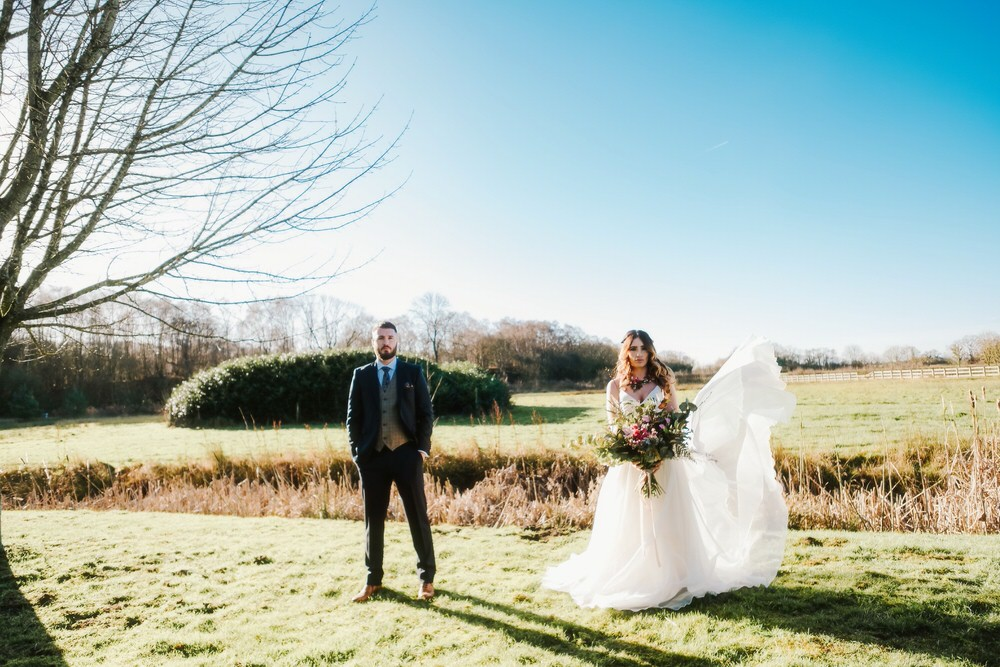 Bride Bridal Dress Gown Train Strapless Tulle Romantic Wedding Ideas Neon Lighting Kate McCarthy Photography