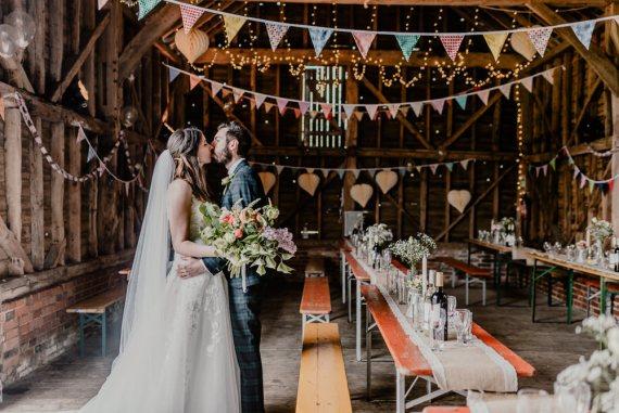 Bunting Lanterns Decor Rustic Barn Wedding Louise Griffin Photography