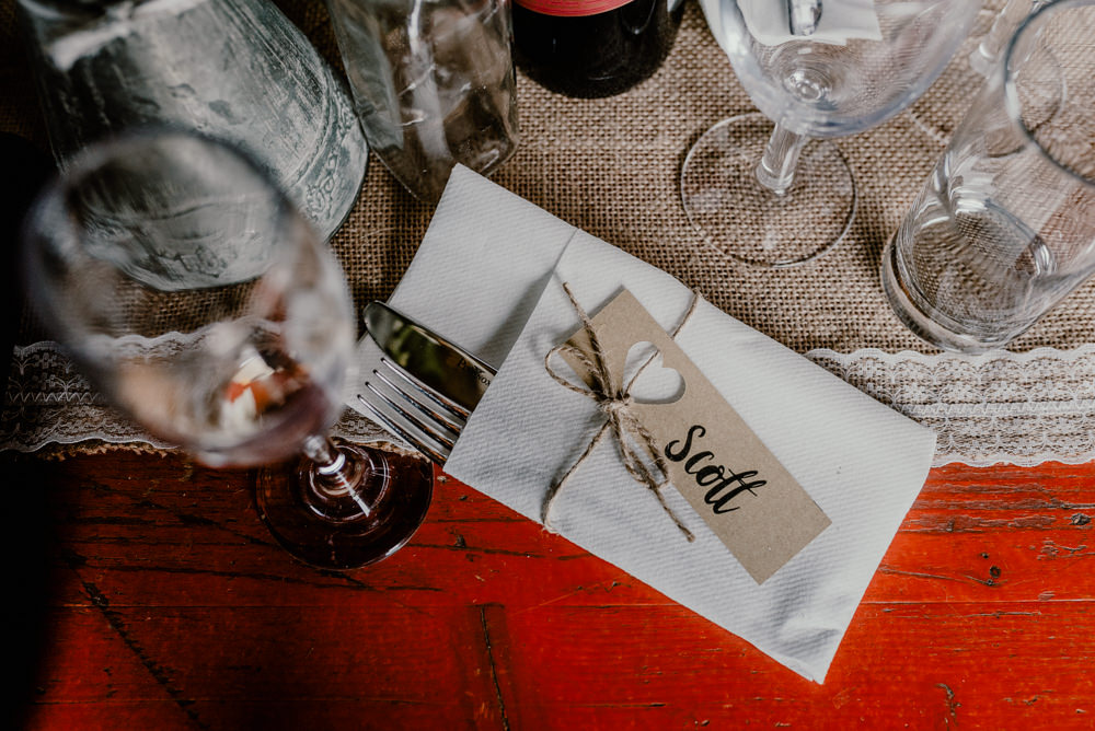 Luggage Tag Twine Place Name Rustic Barn Wedding Louise Griffin Photography