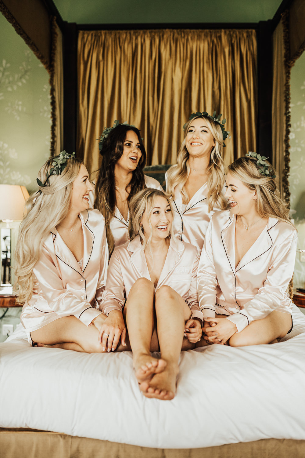 PJs Pyjamas Bride Bridal Bridesmaids Stubton Hall Wedding Darina Stoda Photography