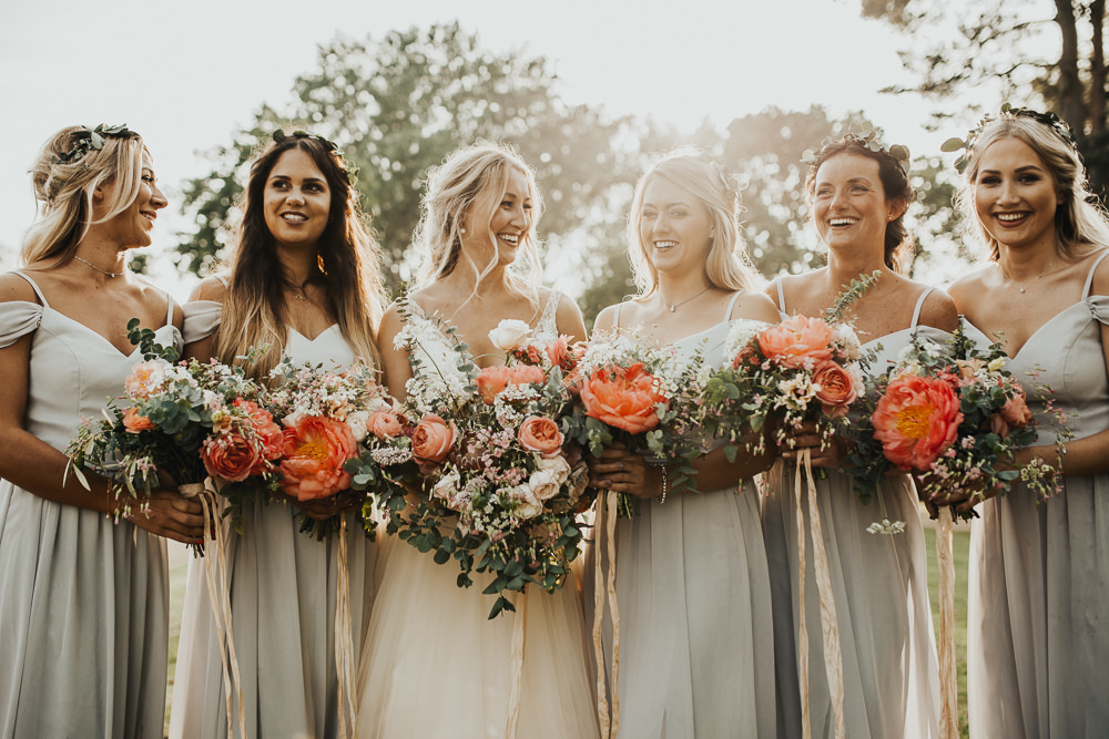 Bride Bridal Bouquet Flowers Coral Peony Peonies Rose Pink Ranunculus Eucalyptus Ribbon Bridesmaid Stubton Hall Wedding Darina Stoda Photography