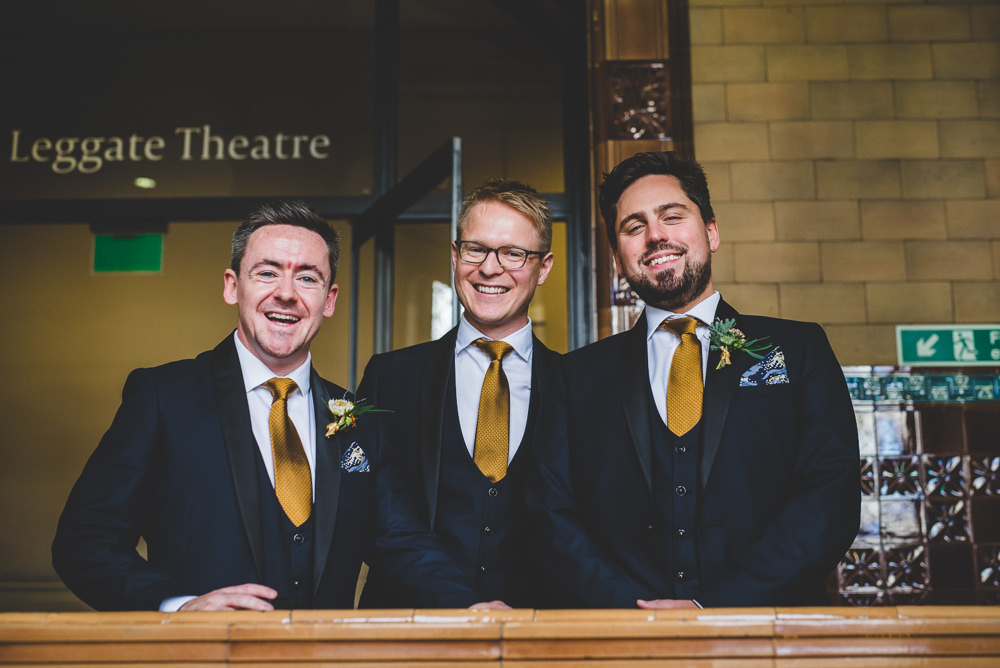 Navy Blue Tuxedo Bib Waistcoat Mustard Tie Groom Groomsmen Victoria Gallery Museum Wedding Emma Hillier Photography