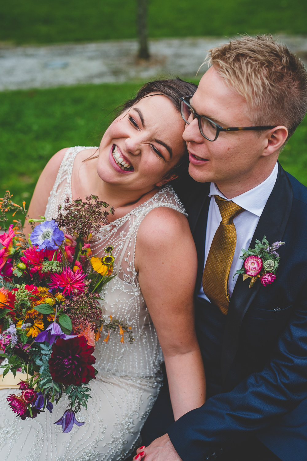 Bride Bridal Beaded Embellished Dress Navy Blue Tuxedo Mustard Tie Groom Multicoloured Bouquet Victoria Gallery Museum Wedding Emma Hillier Photography