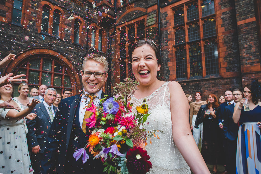 Bride Bridal Beaded Embellished Dress Navy Blue Tuxedo Mustard Tie Groom Confetti Multicoloured Bouquet Victoria Gallery Museum Wedding Emma Hillier Photography