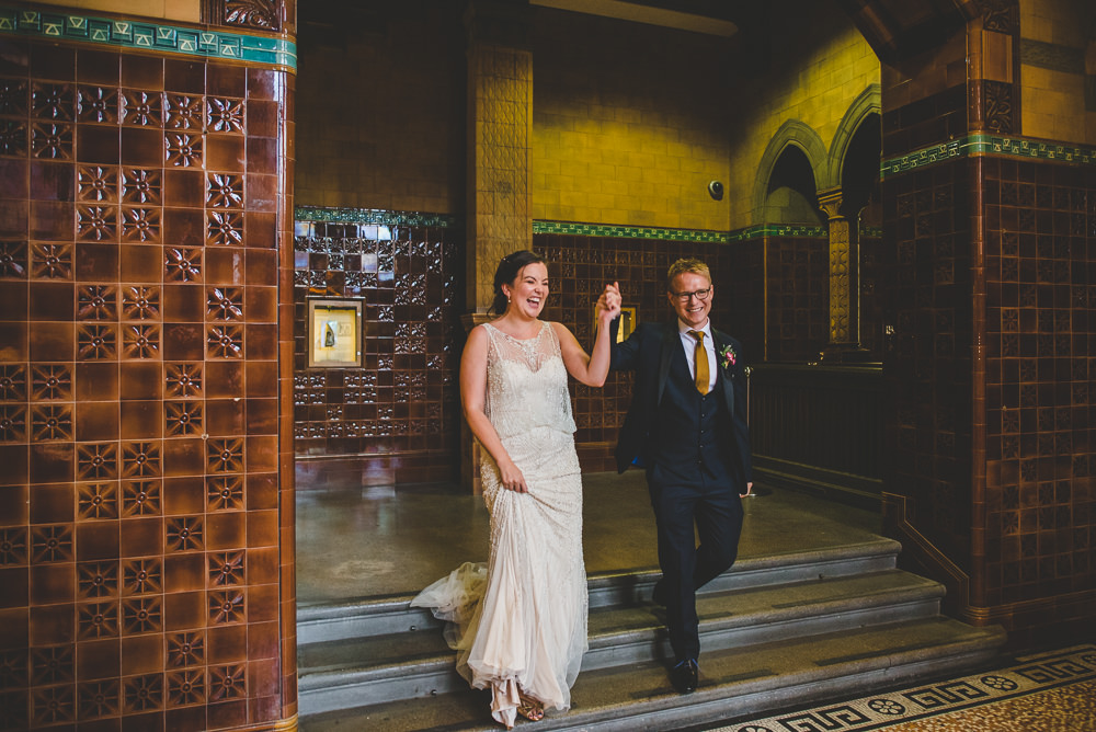 Bride Bridal Beaded Embellished Dress Navy Blue Tuxedo Mustard Tie Groom Victoria Gallery Museum Wedding Emma Hillier Photography