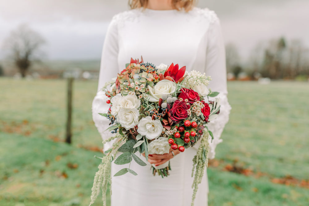 Bride Bridal Bouquet Flowers Red Rose Berry Foliage Autumn Village Hall Wedding The Gibsons Photography