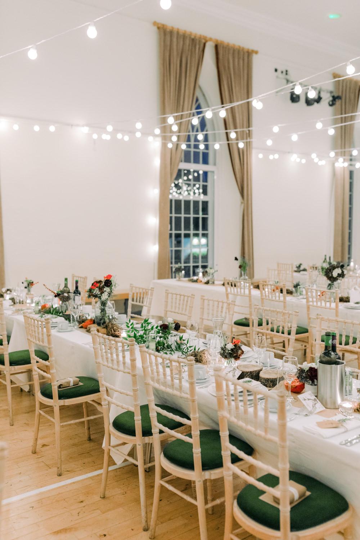 Long Tables Decor Decoration Festoon Lights Autumnal Autumn Village Hall Wedding The Gibsons Photography
