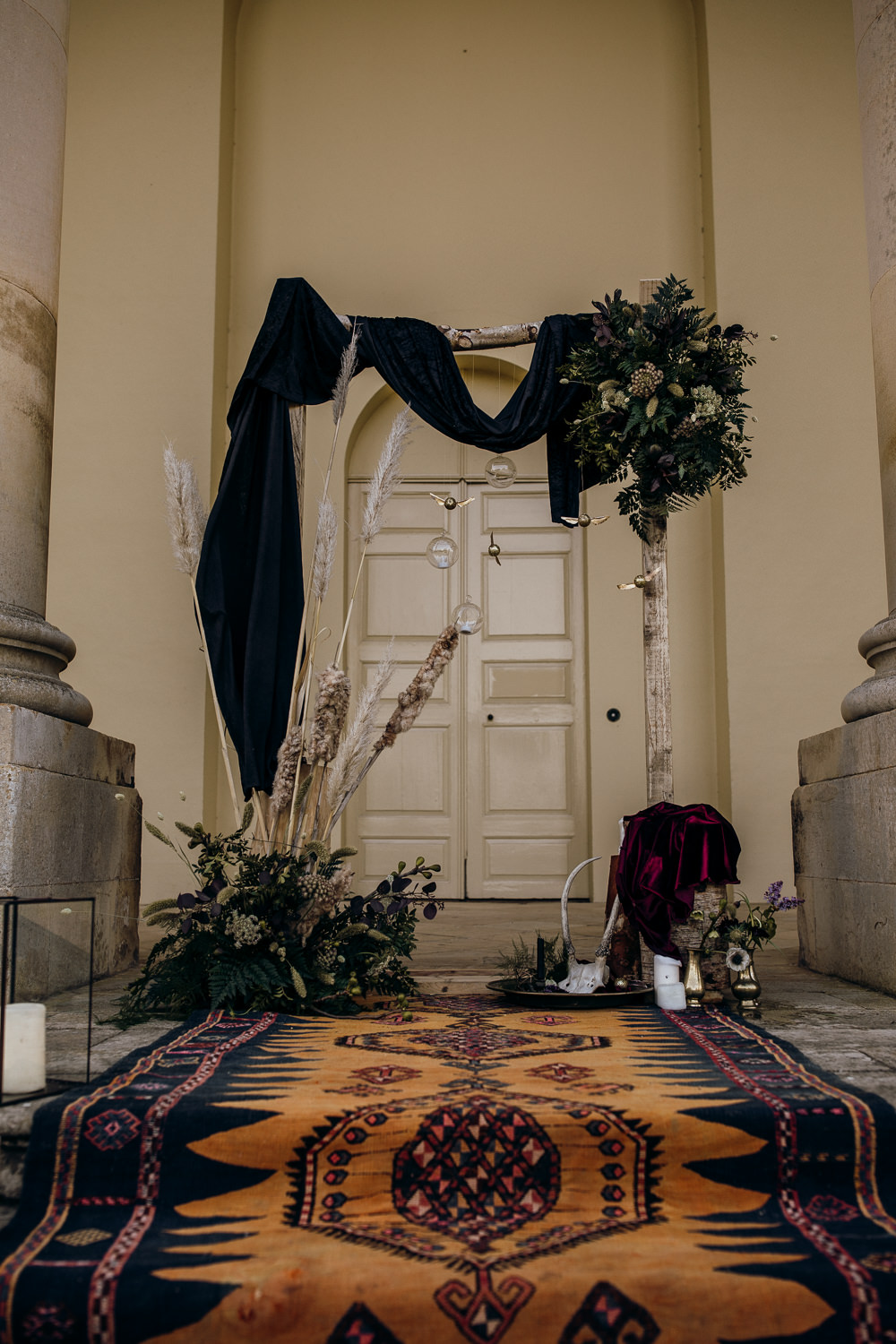 Backdrop Flower Arch Pampas Grass Fabric Rug Harry Potter Wedding Ideas Thyme Lane Photography