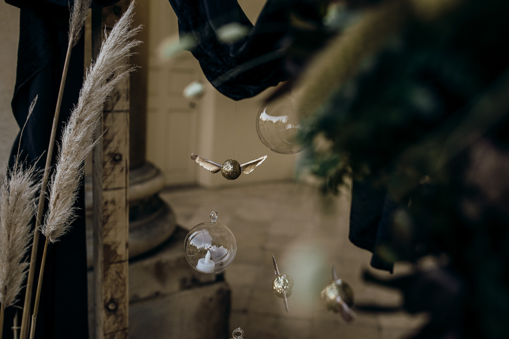 Backdrop Flower Arch Pampas Grass Fabric Rug Golden Snitch Harry Potter Wedding Ideas Thyme Lane Photography