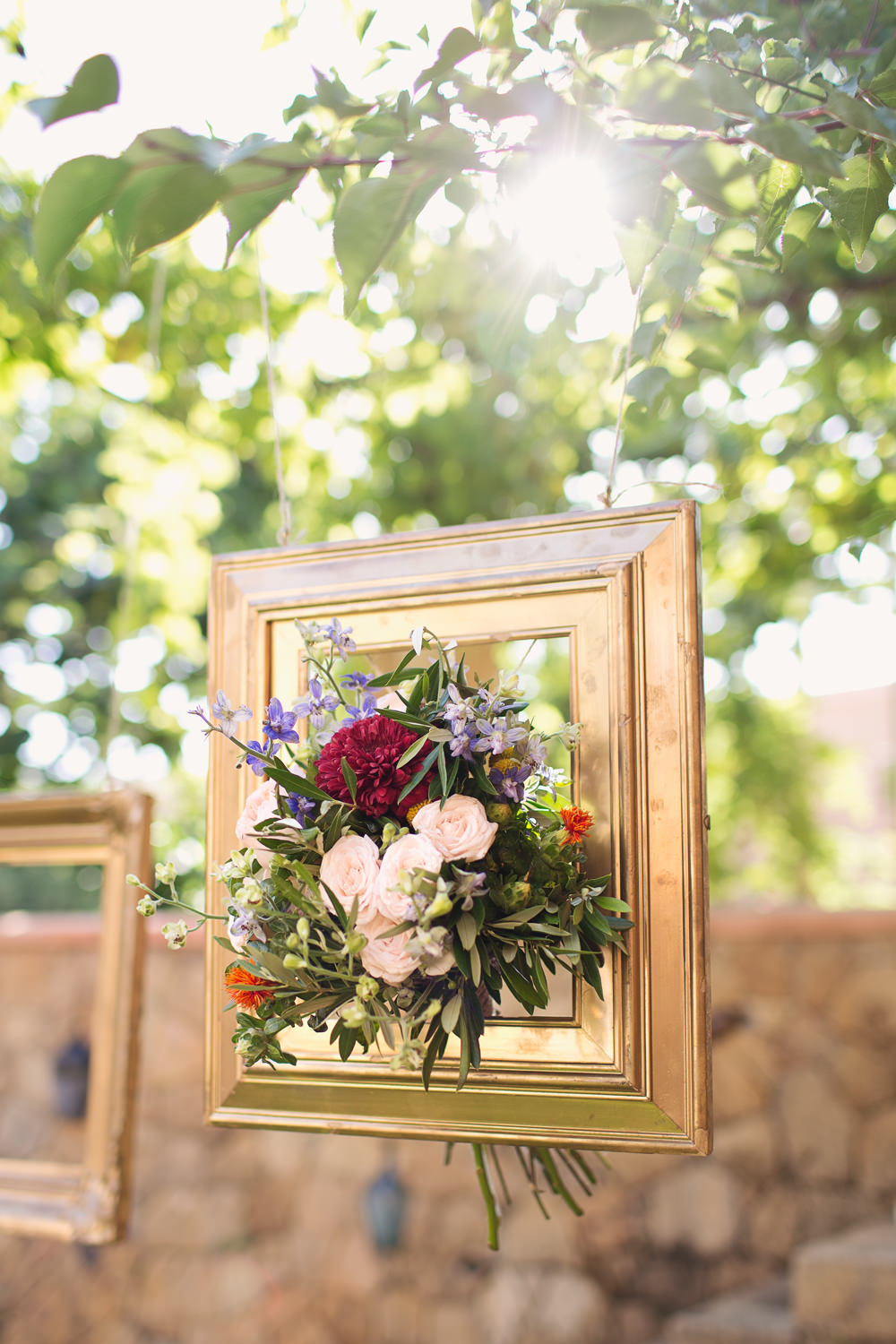 Gold Frame Hanging Flowers Bouquet Kefalonia Wedding Cotton Candy Weddings