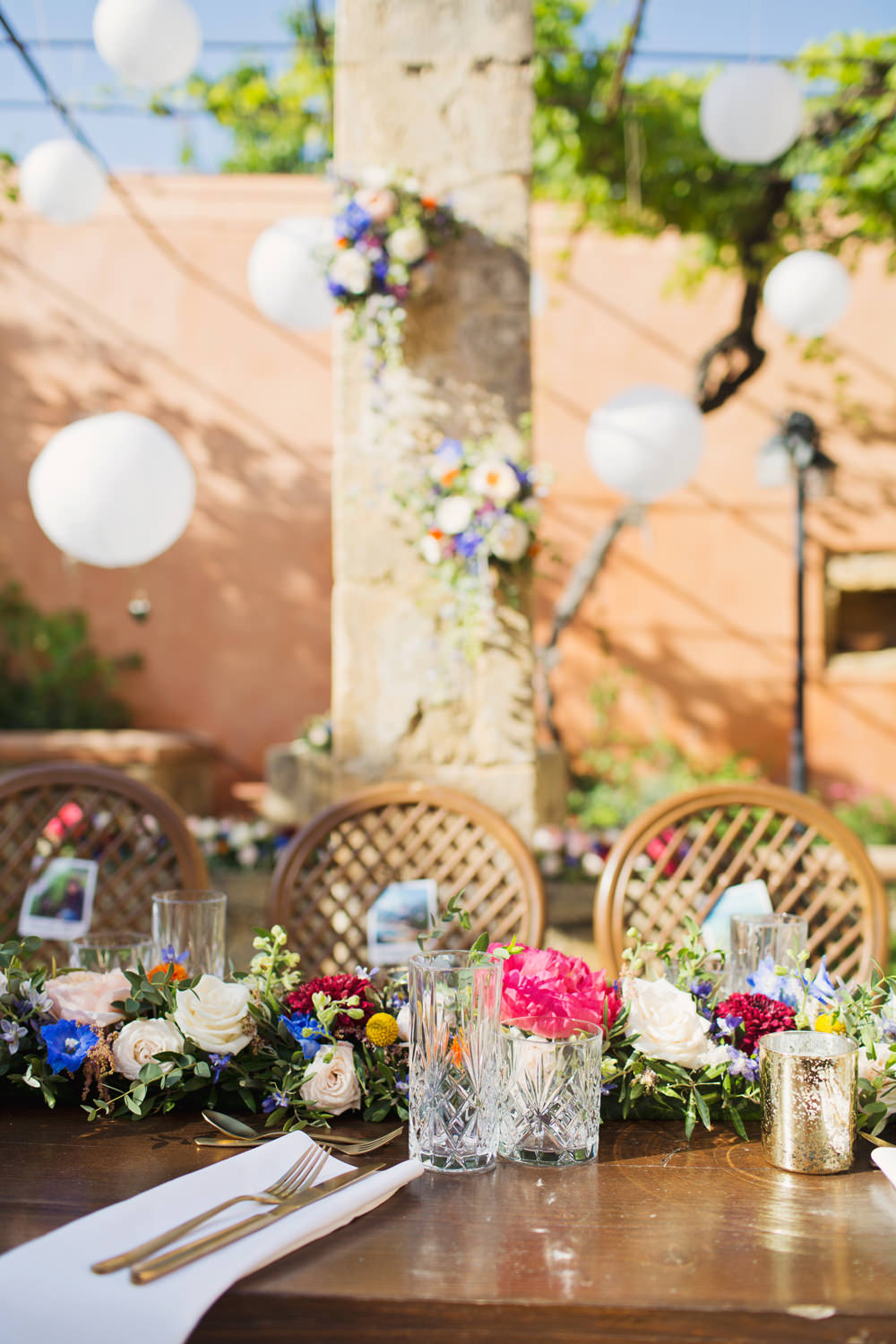 Table Decor Decorations Floral Flower Garland Swag Runner Kefalonia Wedding Cotton Candy Weddings