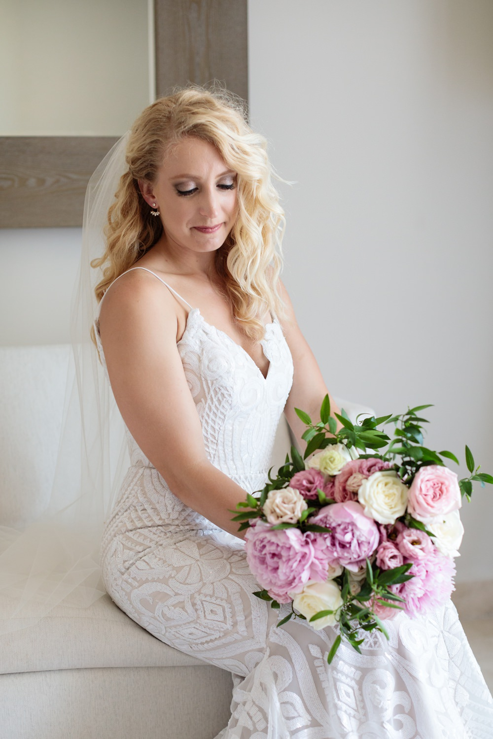 Dress Gown Bride Bridal Train Straps Beaded Fit and Flare Los Cabos Wedding Anna Gomes Photo