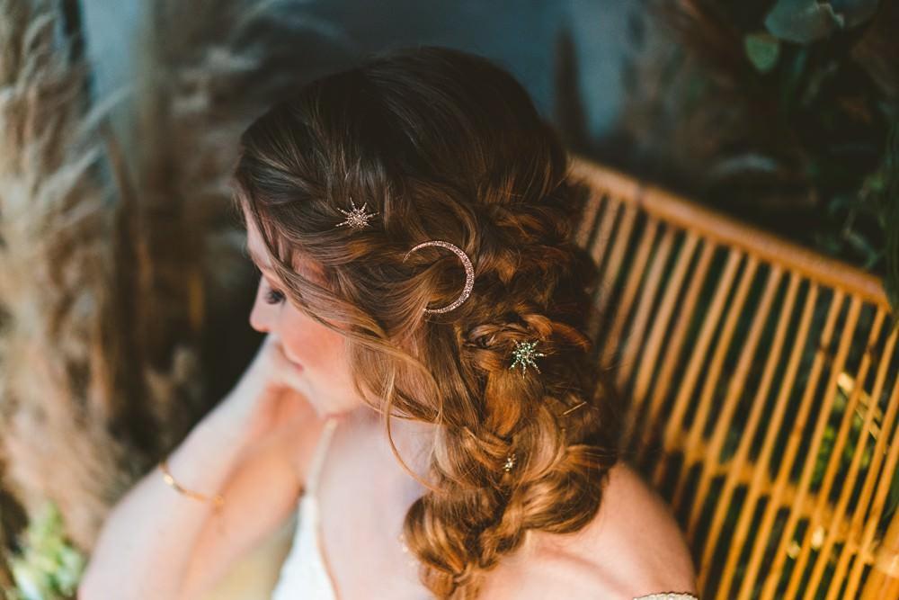 Hair Bride Bridal Style Plait Braid Celestial Star Moon Accessory Pampas Grass Wedding Ideas Tim Stephenson Photography