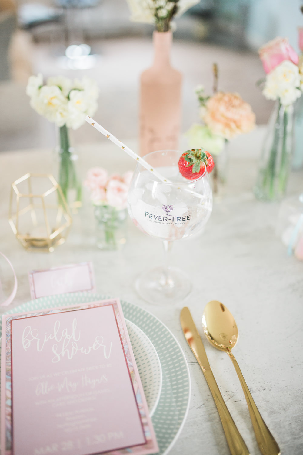 Place Setting Stationery Gold Cutlery Cocktail Springtime Bridal Shower Ideas Hen Party Laura Jane Photography