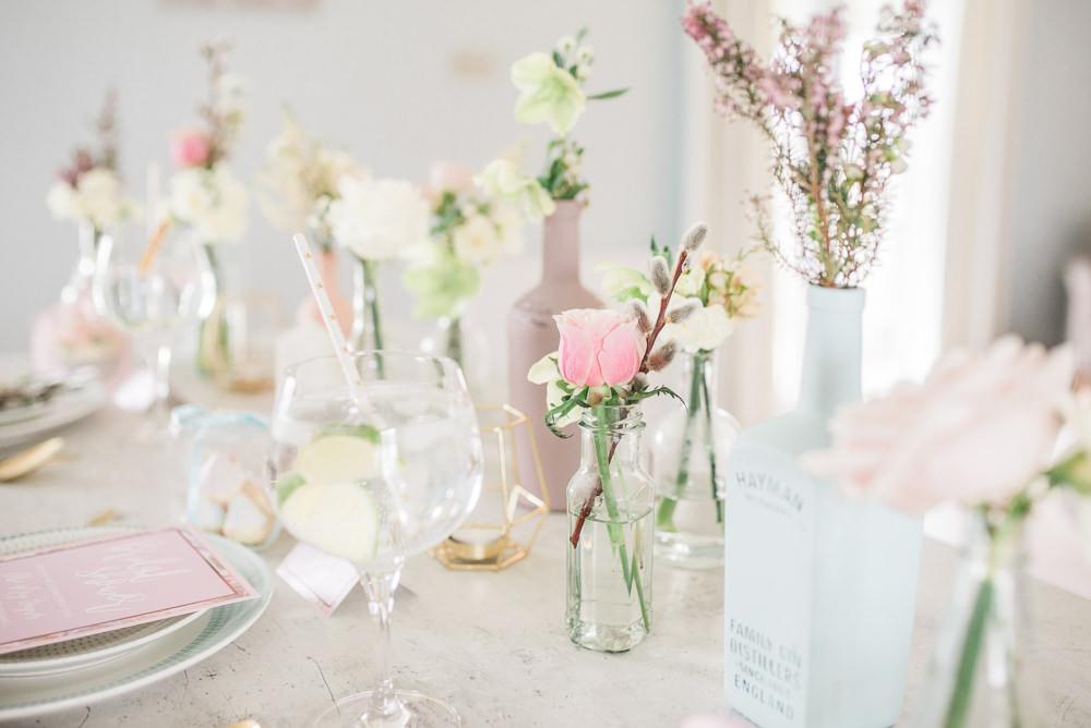 Table Flowers Pretty Decor Tablescape Bottles Springtime Bridal Shower Ideas Hen Party Laura Jane Photography