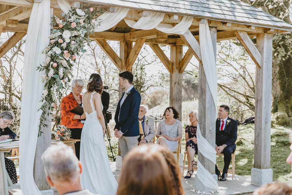 Outdoor Gazebo Ceremony Flowers Drapes Arch Trevenna Barns Wedding Wild Tide Creative