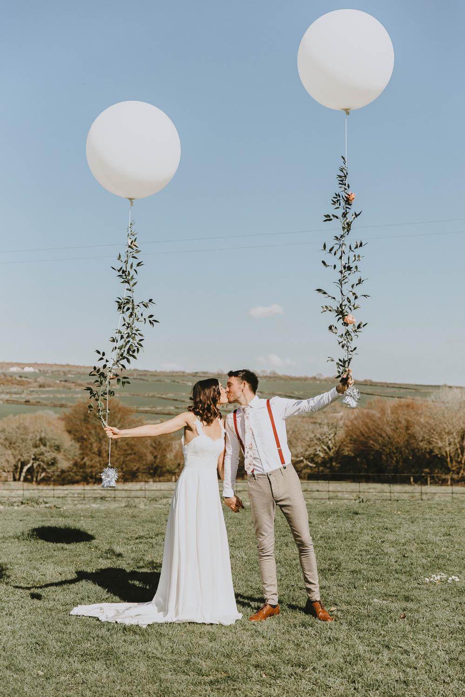 Giant Balloons Bride Groom Trevenna Barns Wedding Wild Tide Creative