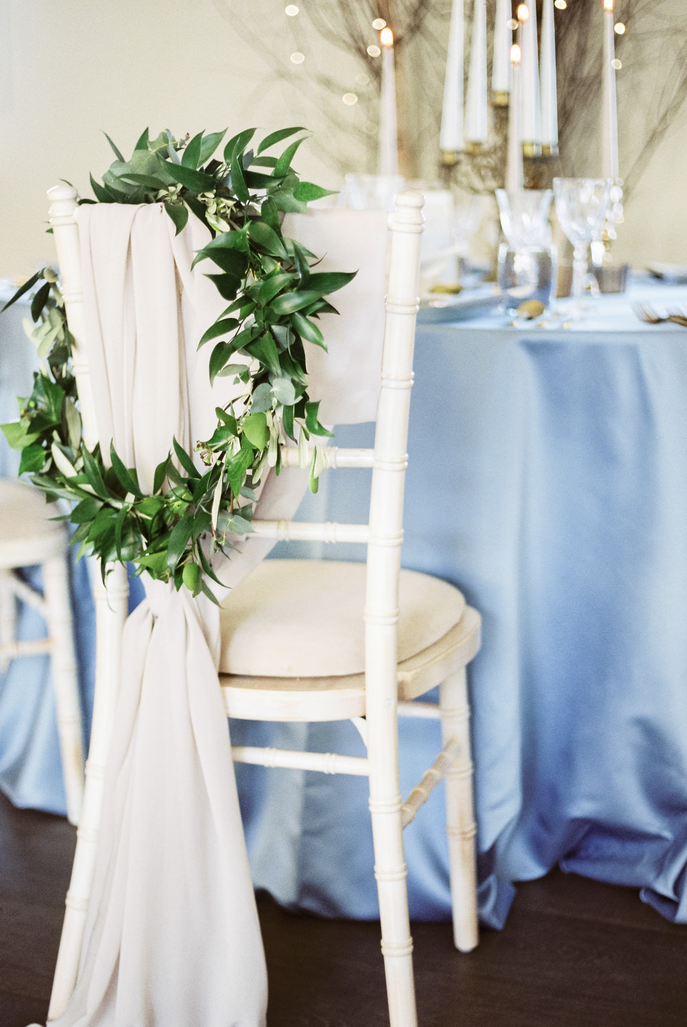 Greenery Foliage Wreath Hoop Chairs Fabric Winter Blue Barn Wedding Ideas Joanna Briggs Photography