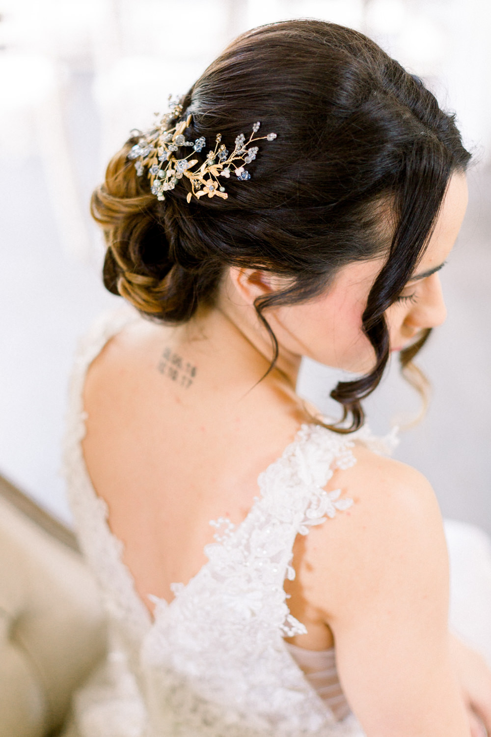 Bride Bridal Accessory Hair Up Do Style Winter Blue Barn Wedding Ideas Joanna Briggs Photography