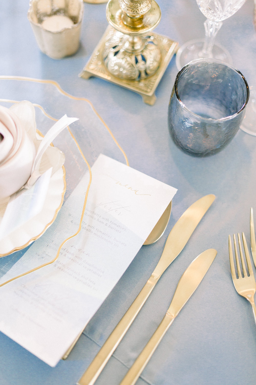 Stationery Gold Cutlery Glasses Winter Blue Barn Wedding Ideas Joanna Briggs Photography