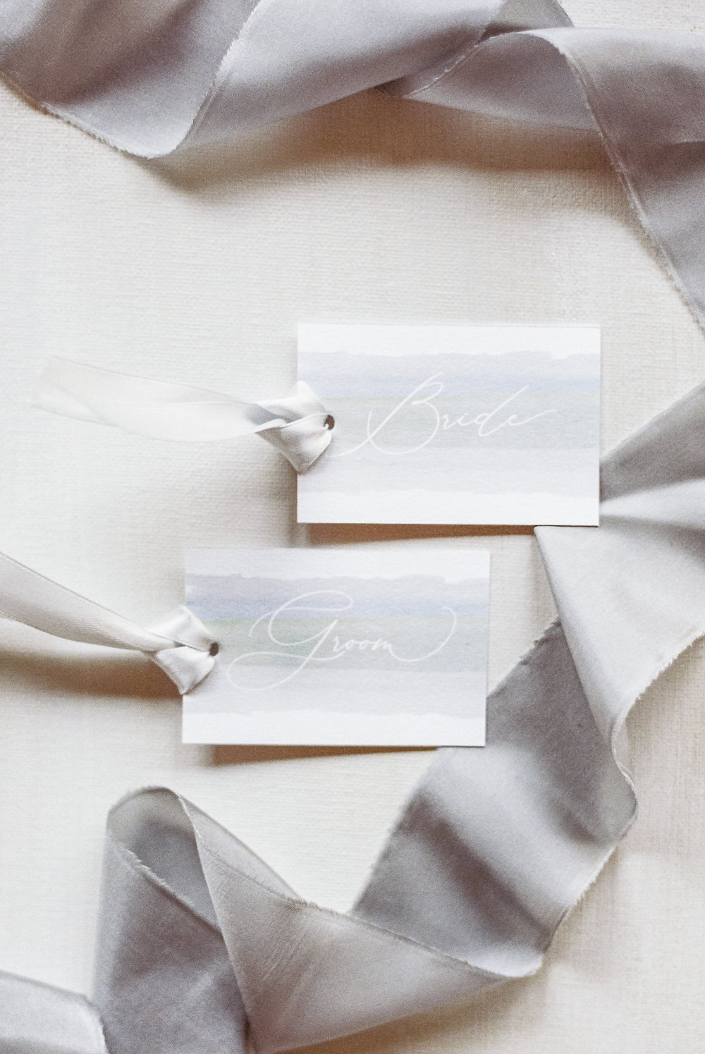 Grey Watercolour Calligraphy Place Name Cards Winter Blue Barn Wedding Ideas Joanna Briggs Photography