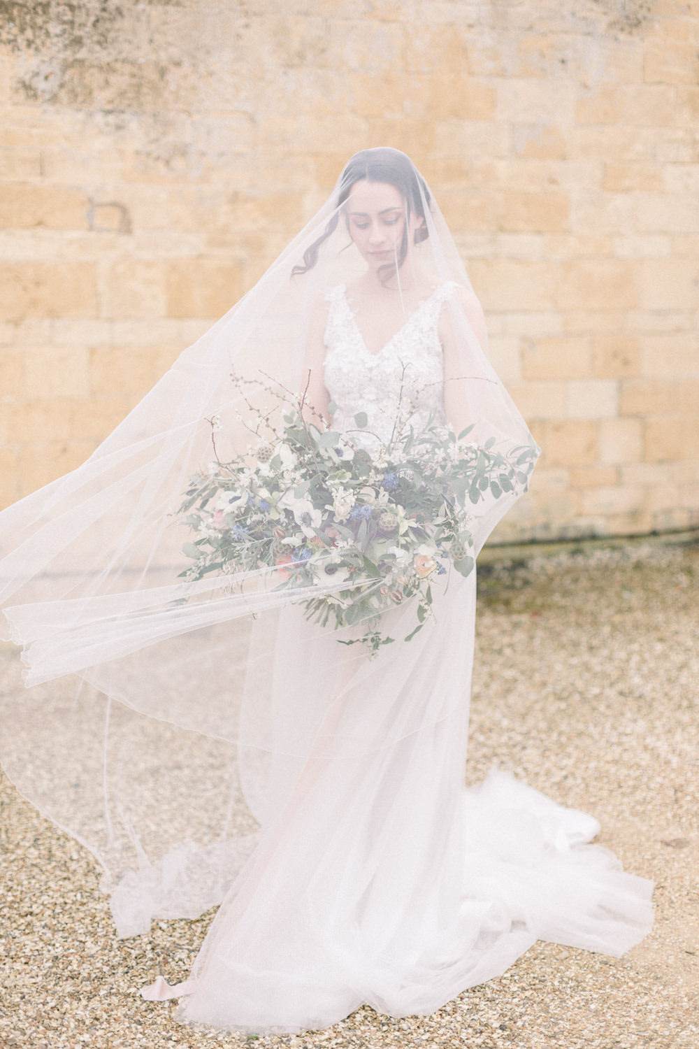 Dress Gown Bride Bridal Veil Winter Blue Barn Wedding Ideas Joanna Briggs Photography