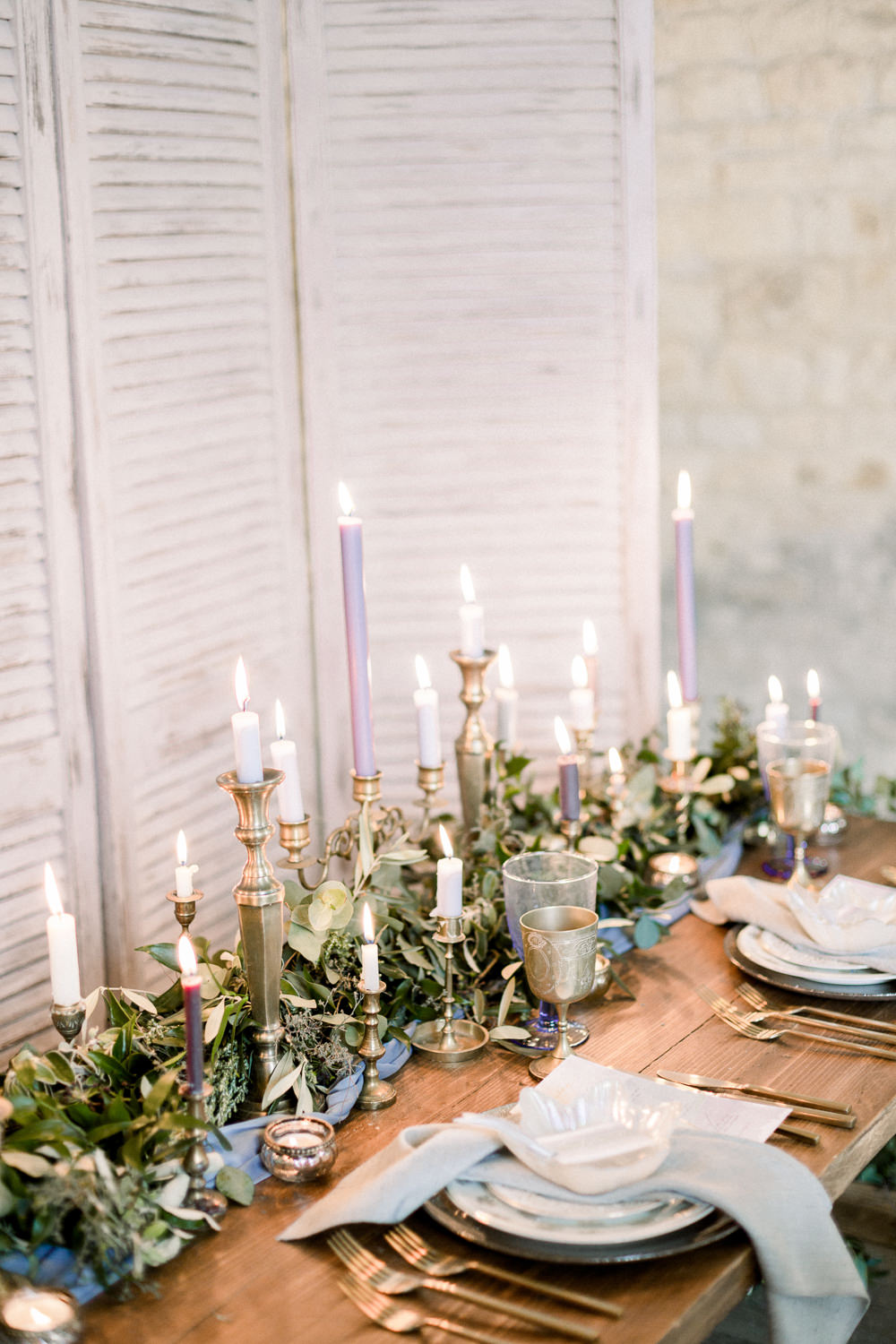 Candle Sticks Table Decor Tablescape Greenery Foliage Winter Blue Barn Wedding Ideas Joanna Briggs Photography