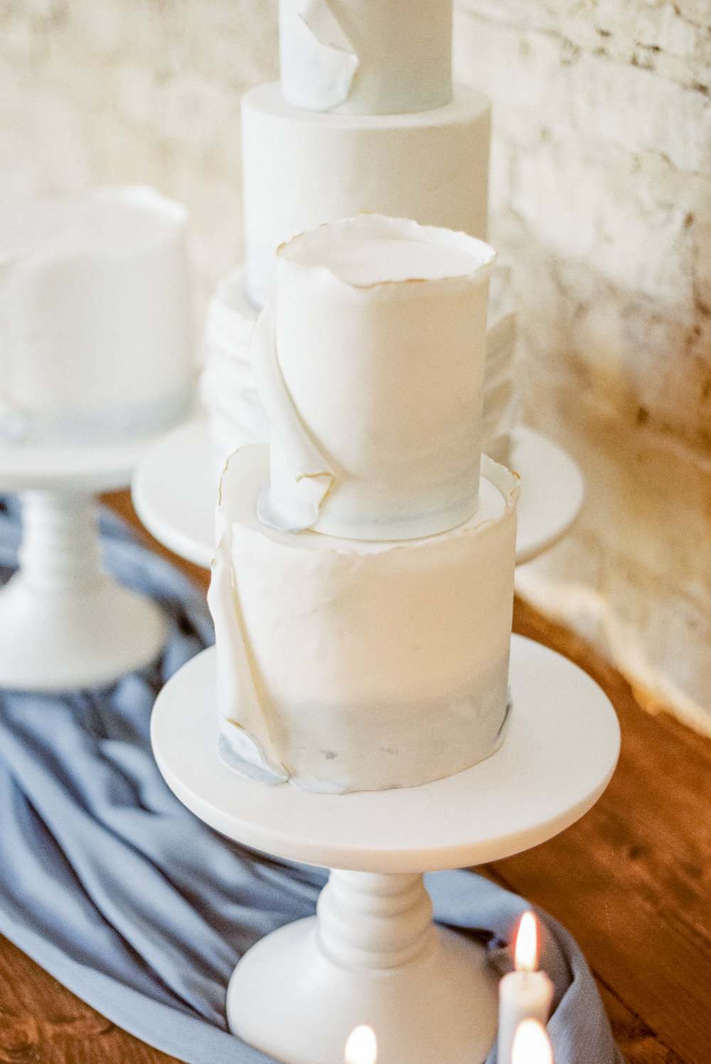 Cake Ruffle Tier Winter Blue Barn Wedding Ideas Joanna Briggs Photography