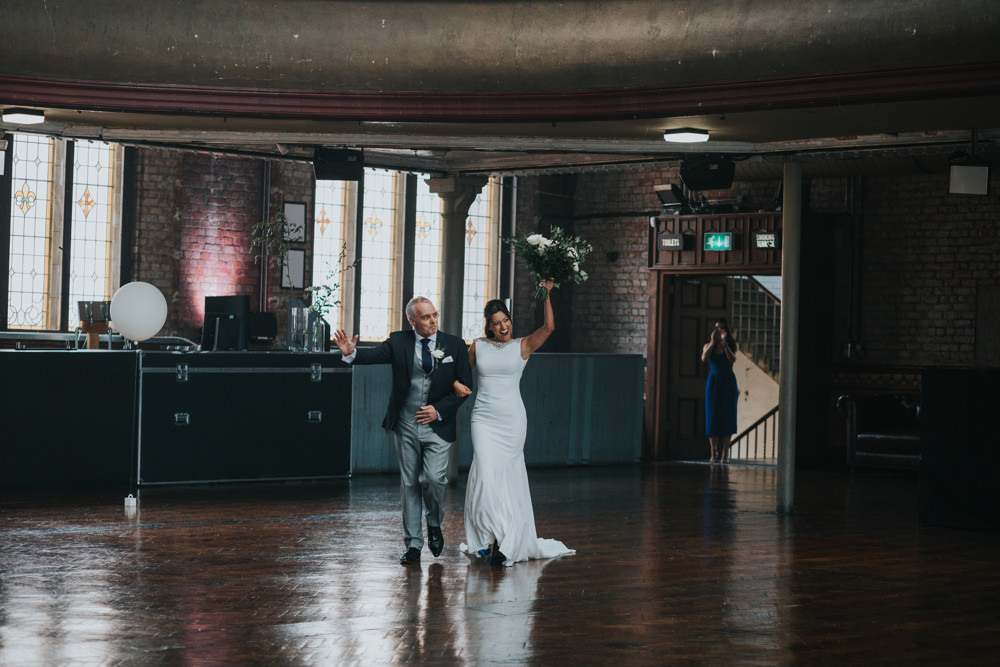 Pronovias Dress Gown Fit and Flare Embellished Sparkle Long Train Three Piece Suit Albert Hall Manchester Wedding Katie Dervin Photography
