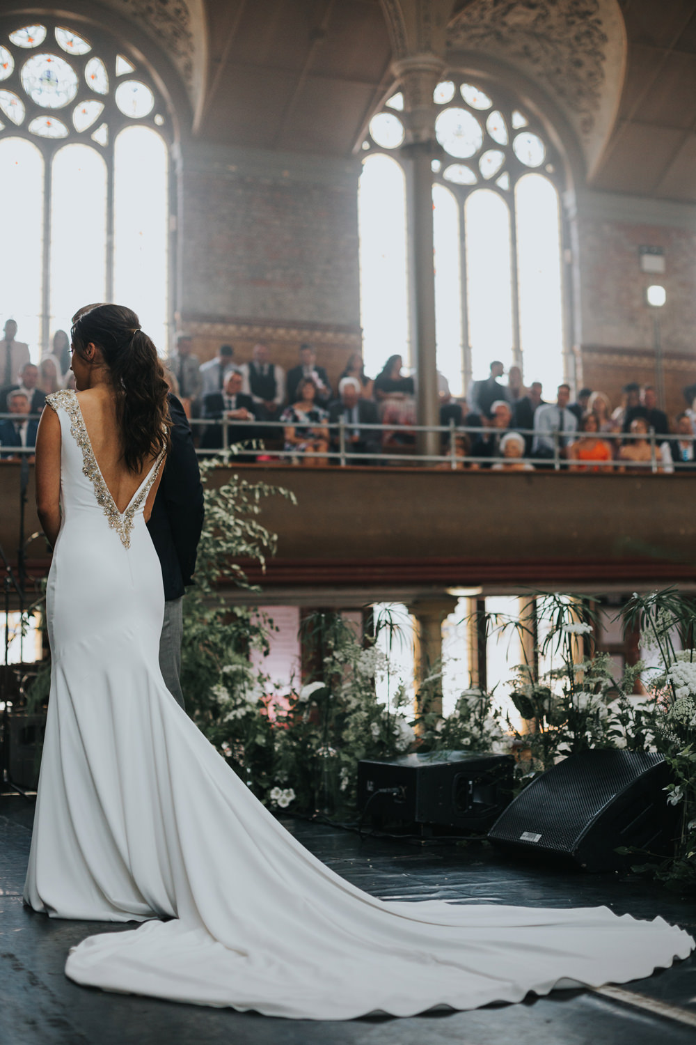 Pronovias Dress Gown Fit and Flare Embellished Sparkle Long Train Albert Hall Manchester Wedding Katie Dervin Photography